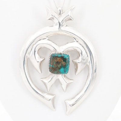 Sterling Silver Turquoise Sandcast Naja Pendant Necklace