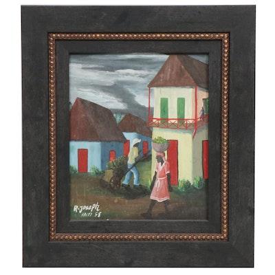 R. Joseph Haitian Scene Oil Painting