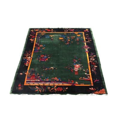 Hand-Knotted Chinese Nichols Style Wool Rug
