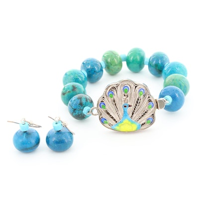 Sterling Silver Glass, Imitation Turquoise and Enamel Bracelet and Earrings