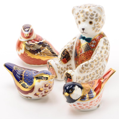 "Royal Crown Derby ""Regal Goldie"" Limited Edition Bear Figurine with Others"