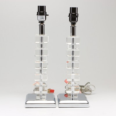 Contemporary Stacked Glass and Chrome Table Lamps