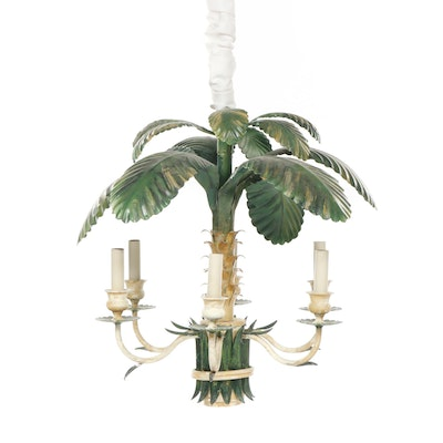 British Colonial Style Tole Metal Six Arm Chandelier, Late 20th Century