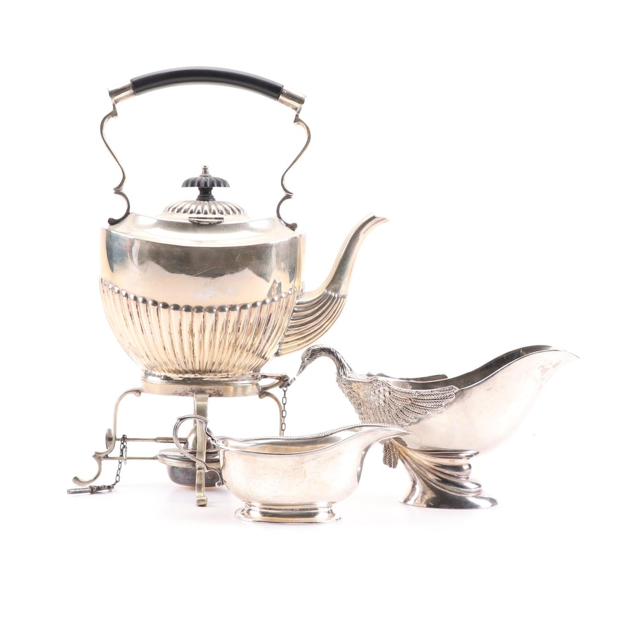Swan Handled Sauce Boat with English Silver Plate Hot Water Kettle and Gravy