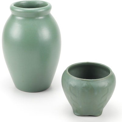 Arts and Crafts Matte Green Zanesville Stoneware Vases