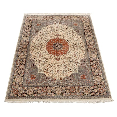 Hand-Knotted Indo-Persian Floral Wool Area Rug
