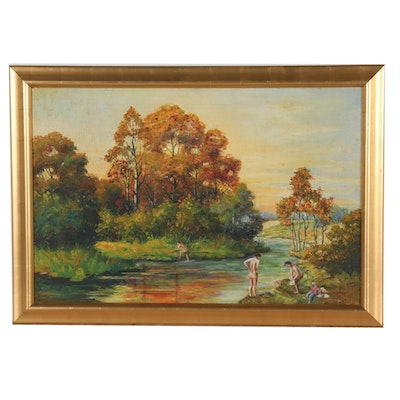 Early 20th Century Oil Painting of Bathers in an Autumn Landscape