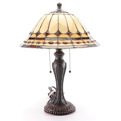 Cast Metal Table Lamp with Slag and Stained Glass Cabochon Shade