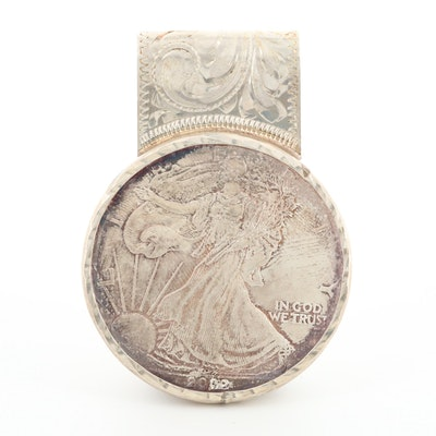 Sterling Money Clip with 2002 American Silver Eagle Bullion Coin