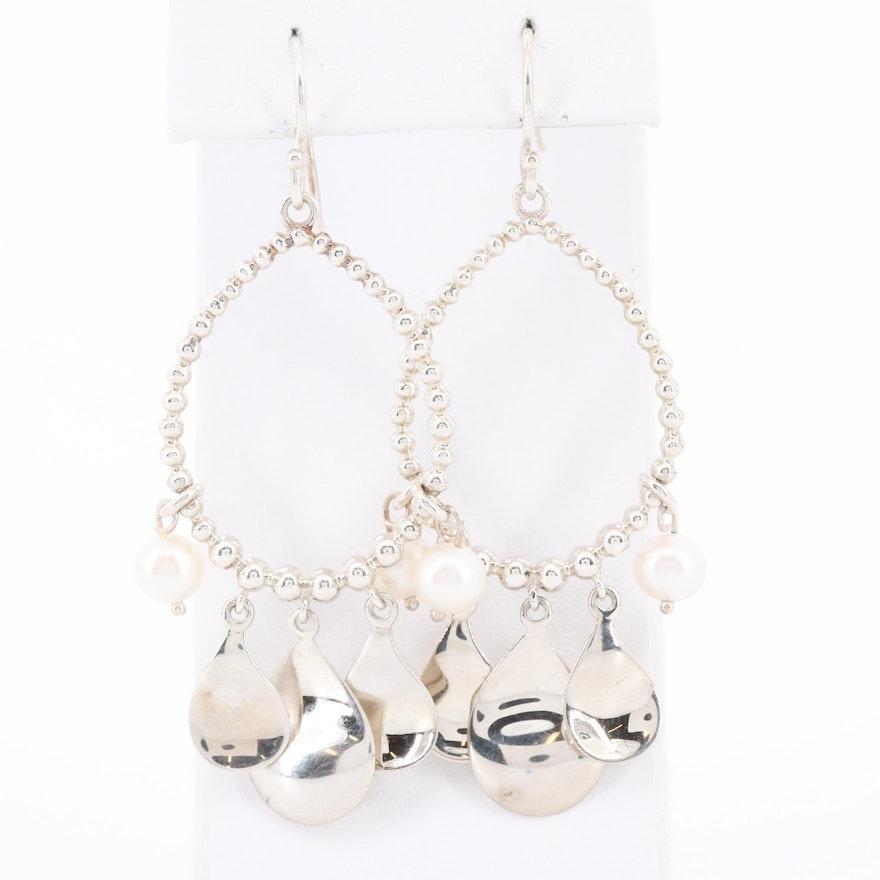 Michael Dawkins Sterling Silver Cultured Pearl Decorative Hoop Earrings