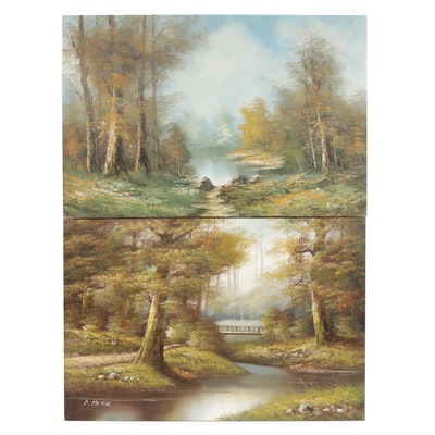 R. Thomas and D. Truman Forest Landscape Oil Paintings