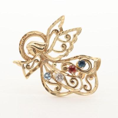 14K Yellow Gold Diamond, Sapphire, Garnet and Aquamarine Angel Brooch