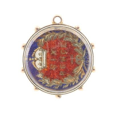 9K Pendant with Enameled and Gold-Plated Great Britain Six Pence Coin
