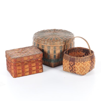 Rattan and Split Wood Woven Storage and Gathering Baskets