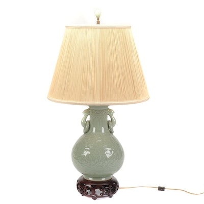 Chinese Celadon Glazed Ceramic Table Lamp with Floral Motif