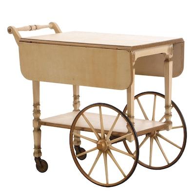 Painted Wood Drop-Leaf Tea Cart