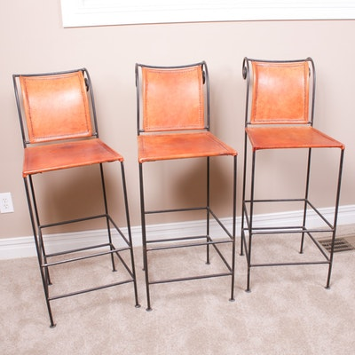 Contemporary Leather and Cast Iron Bar Stools