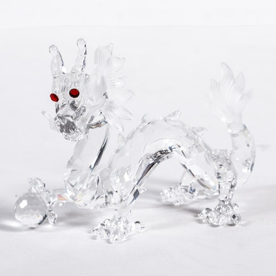 1997 Swarovski Red Eyed Dragon Glass Figurine With Original Case and Box
