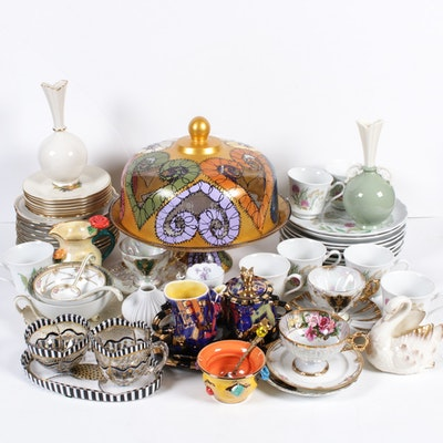 Tea Party Serveware Featuring Tea Cups and Saucers, Lenox Plates, Vases and More