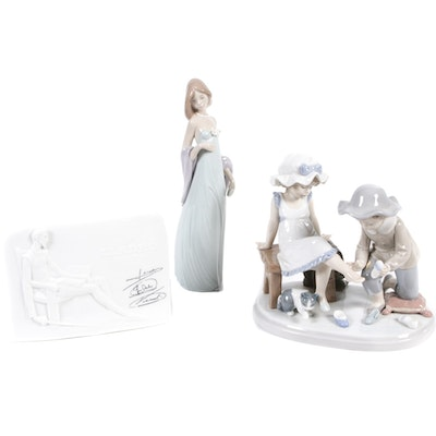 "Lladro ""Try This One"", ""Don Quixote"" Porcelain Plaque and ""Ingenue Lady """
