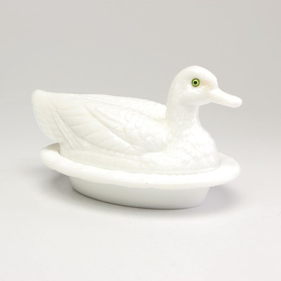 """""""Duck on Wavy Base"""" Milk Glass Covered Dish, Vintage"""