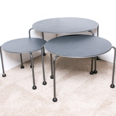 Set of Three Contemporary Metal and Laminate Top Graduated Side Tables