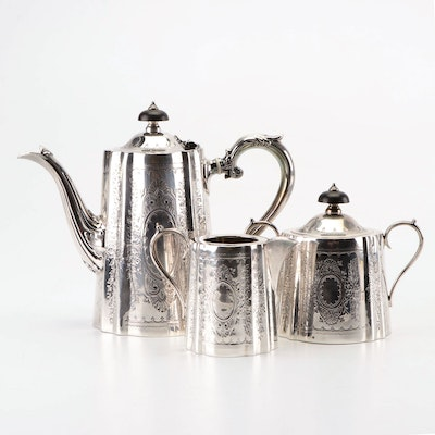 Barker Ellis Edwardian Engraved Silver Plate Tea Set With Ebony Handles