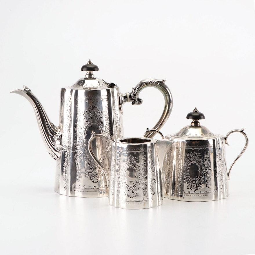 Barker Ellis Edwardian Engraved Silver Plate Tea Set With Ebony Handles