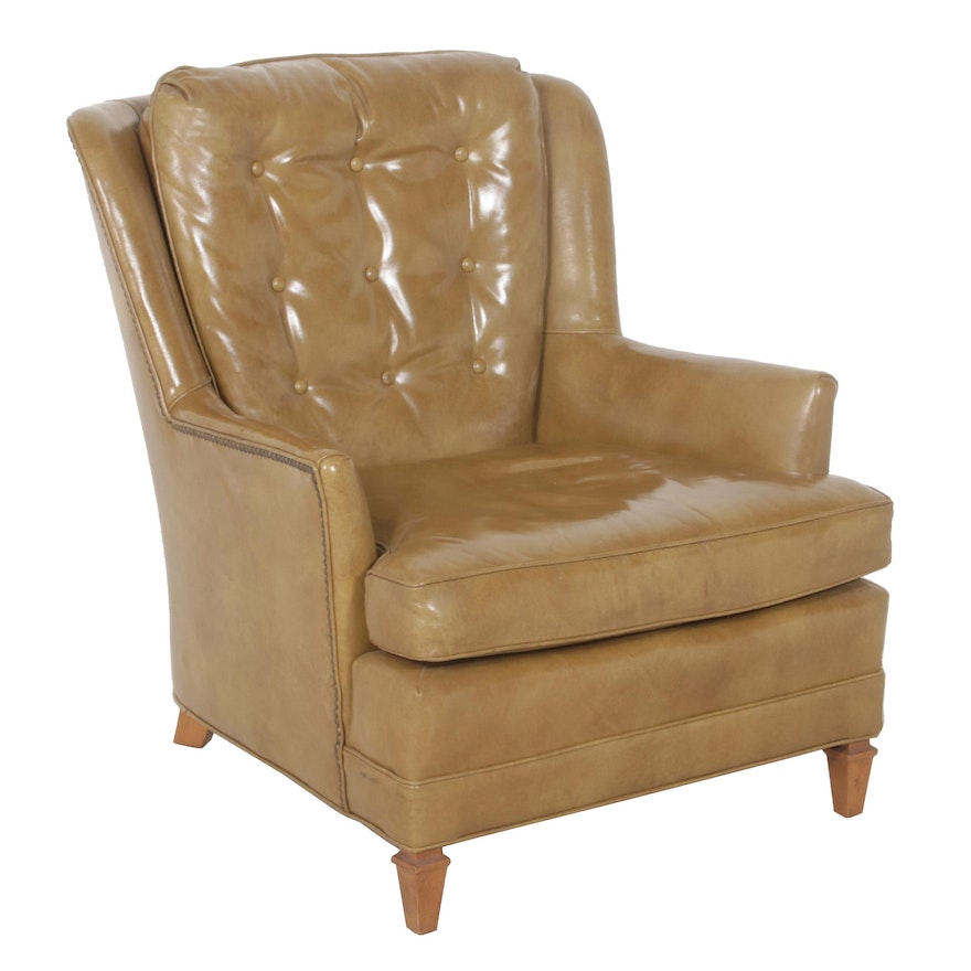 Distressed Brown Nailhead Leather Armchair by Century