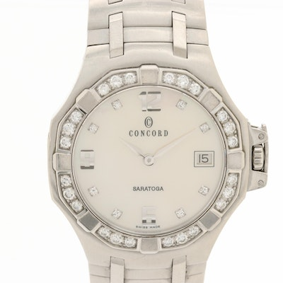 Concord Saratoga Stainless Steel Wristwatch With 1.12 CTW Diamond Bezel and Dial