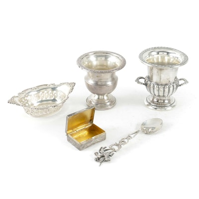 Sterling Silver Toothpick Holders, Gorham Nut Dish and Assorted Silver Items