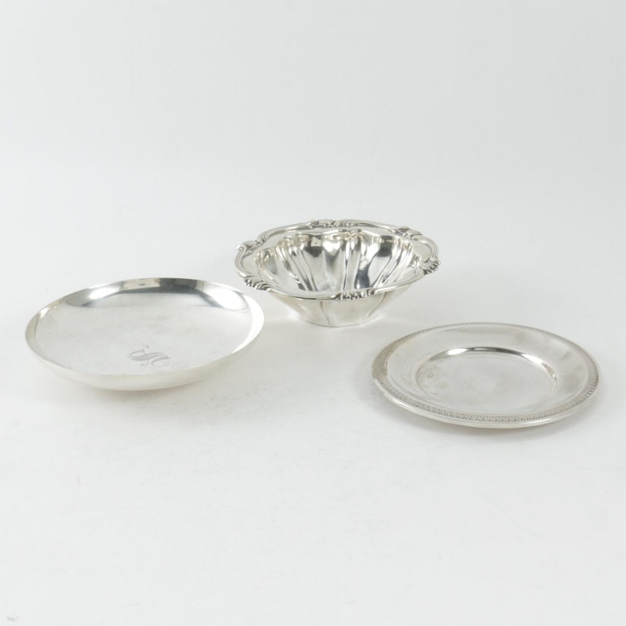 Tuttle and Camusso Sterling Silver Bowls and 800 Silver Plate