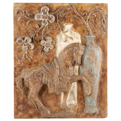 Cast Plaster Tang Horse Motif Wall Sculpture