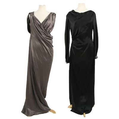 Tahari and Dennis Basso Silk Maxi Evening Dresses