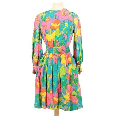 Marie McCarthy for Larry Aldrich Silk Belted Midi Dress, 1960s Vintage