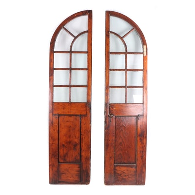 Palladian Style Arched Pine Salvage Doors, 19th Century