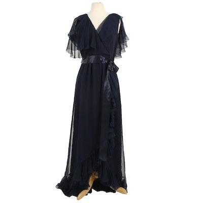 Mollie Parnis Boutique Navy Silk Chiffon Ruffled Maxi Dress, 1970s Vintage