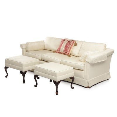 "Ethan Allen ""Traditional Classics"" White Upholstered Sofa with Ottomans"