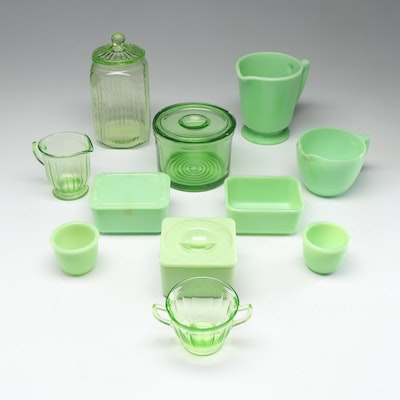 Depression Glass and Jadeite Serving Pieces Featuring McKee