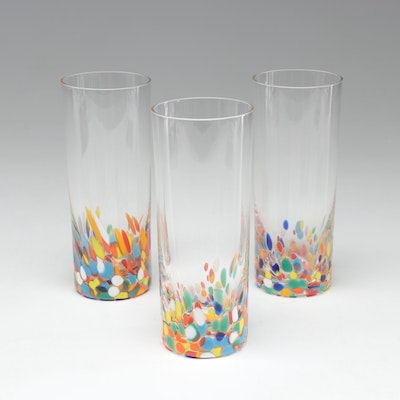 Blown Glass Multi-Color Signed Cocktail Glasses