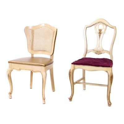 Two French Provincial Style Painted Wooden Side Chairs, Mid 20th Century