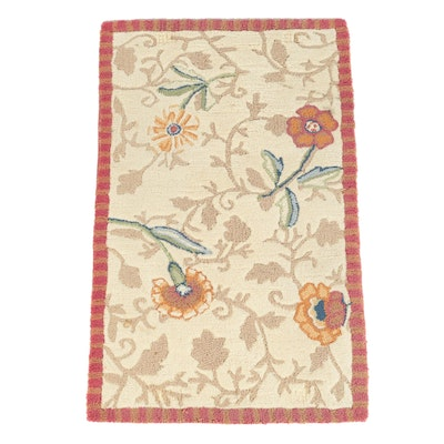 "Hand-Hooked Kaleen Indian ""Flower Head"" Wool Accent Rug"