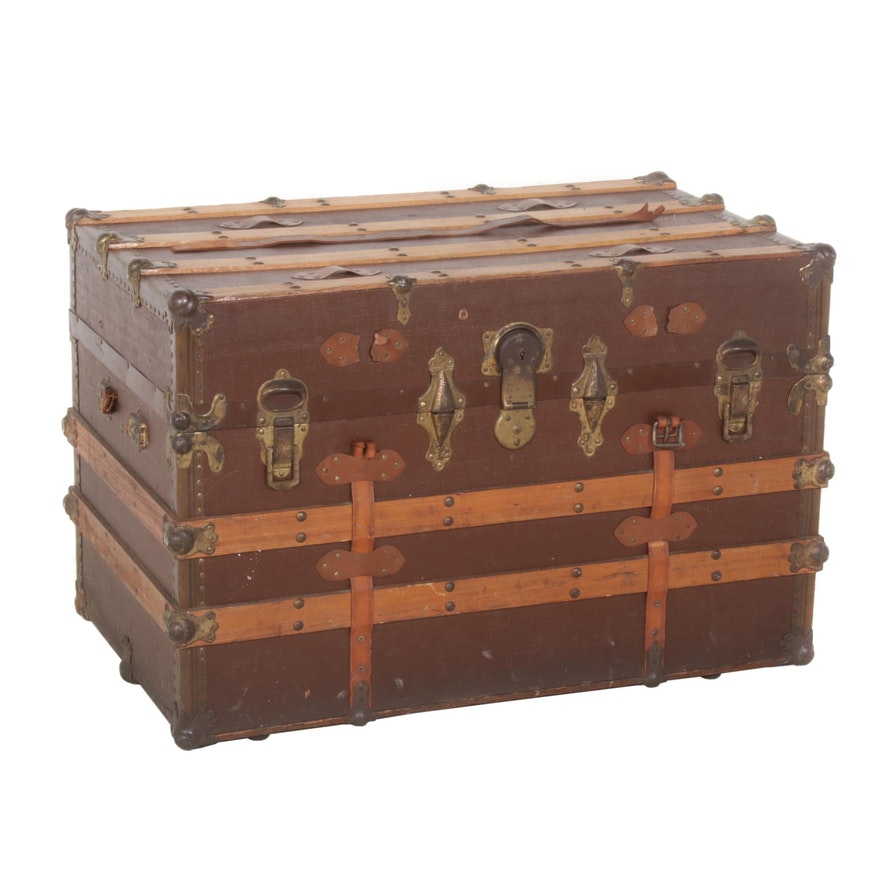 Painted Canvas, Wood and Leather Trunk, Early to Mid 20th Century