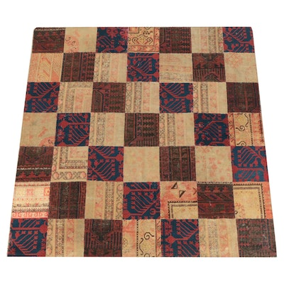Patchwork Hand-Knotted Khotan Wool Square Area Rug