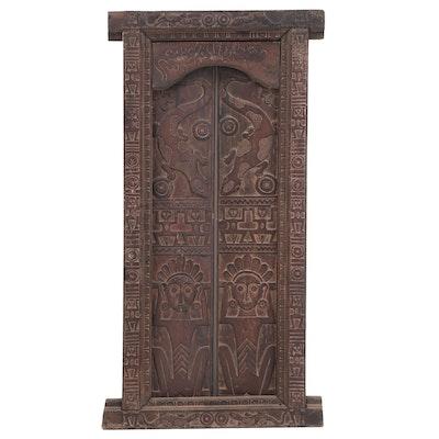 Ethnographic Carved Temple Door Panel