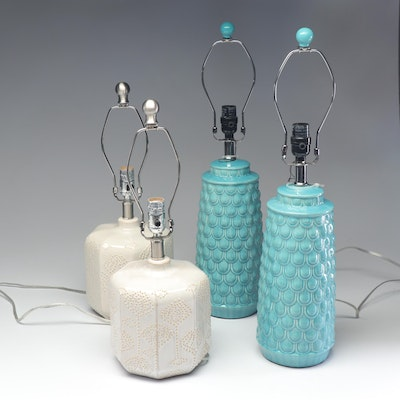 Two Pairs of Ceramic Table Lamps, Contemporary