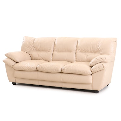 Contemporary Faux-Leather Sofa