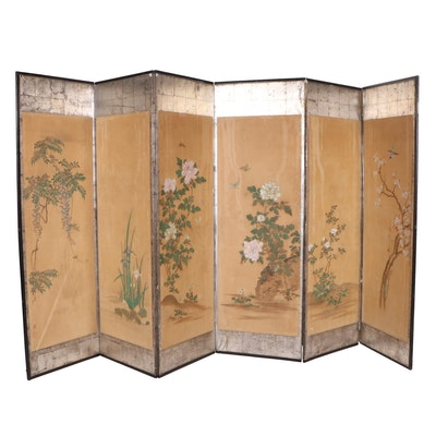 Vintage Japanese Gouache and Silver Leaf Six Panel Screen, Mid 20th Century