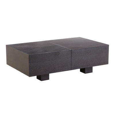Modern Style Walnut Finish Coffee Table with Interior Storage, Contemporary