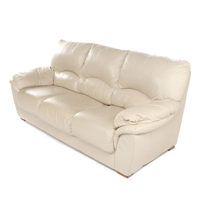 Modern Beige Leather Sofa, Late 20th Century